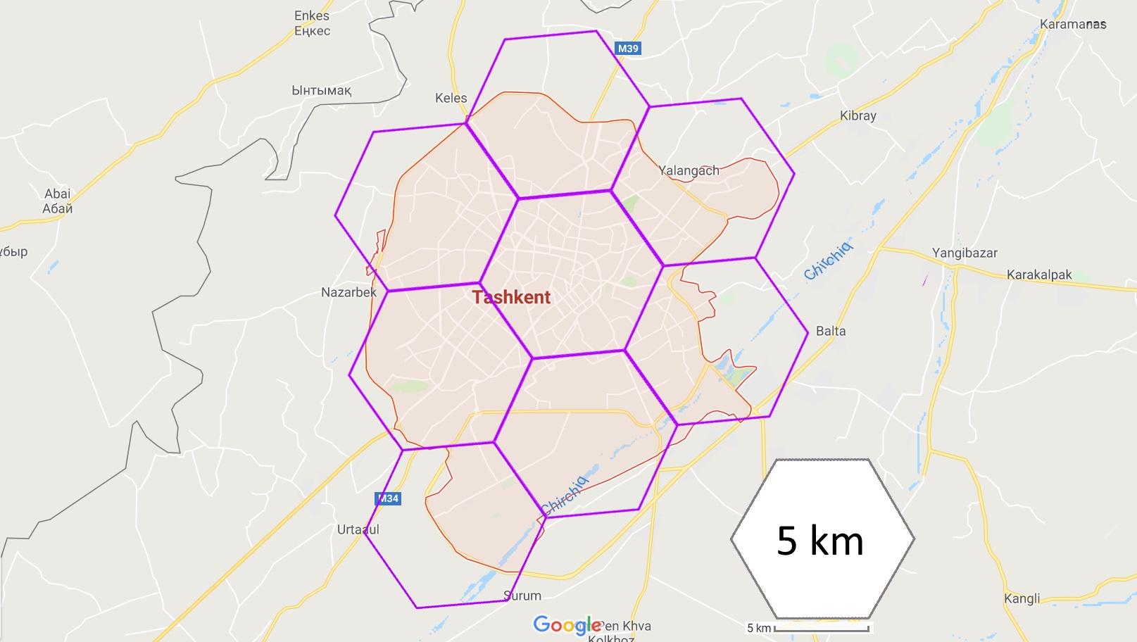 Ташкент: пример покрытия территории беспроводной ячеистой сетью 70/80ГГц 10GE