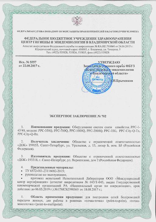 Гигиенический сертификат на радиомосты ДОК