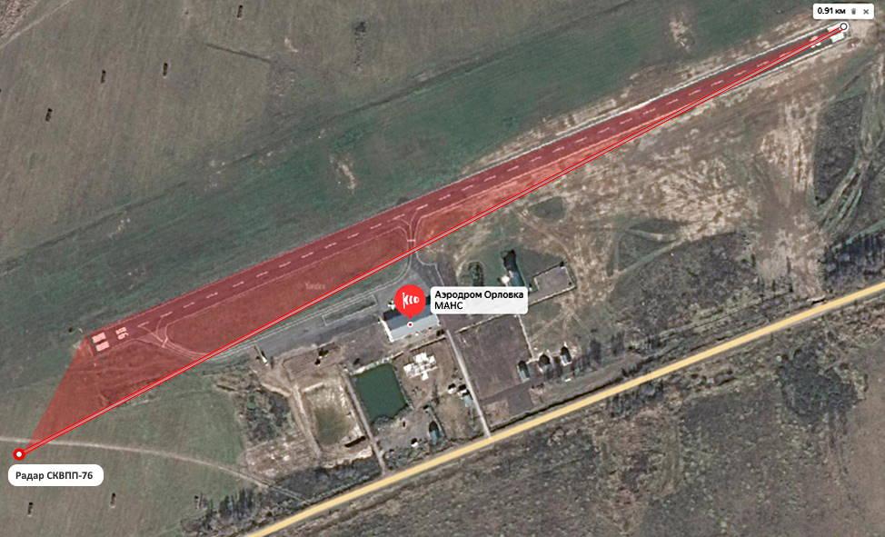 FOD радар - карта летной базы Орловка