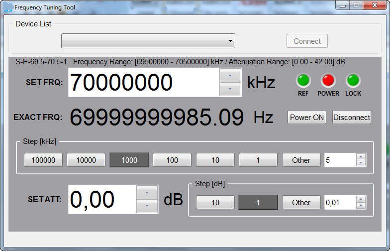 Окно приложения по управлению генератором сигналов миллиметрового диапазона