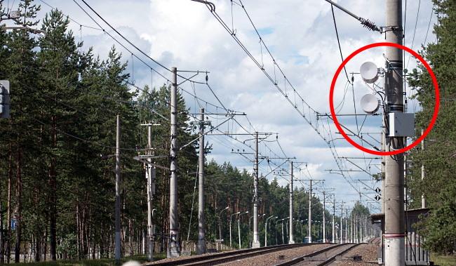 Базовые станции связи поезд-земля у платформы Комарово